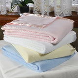 100% Cotton Pink Cellular Baby Cot Blanket 120x150cm Gift Pack - Grace Baby