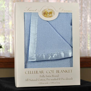 100% Cotton Blue Cellular Baby Cot Blanket 120x150cm Gift Pack