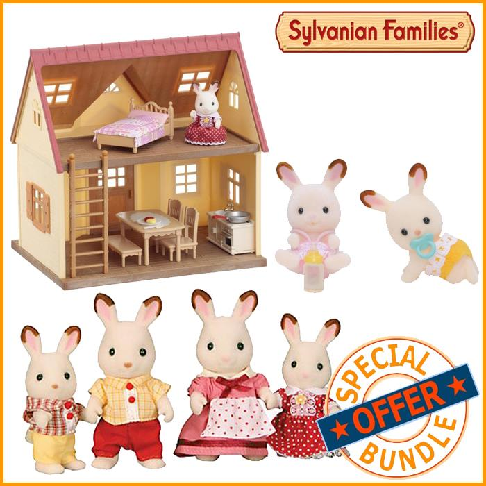 Sylvanian Families Cosy Cottage Chocolate Rabbit Family & Twin Babies Bundle Package - Grace Baby