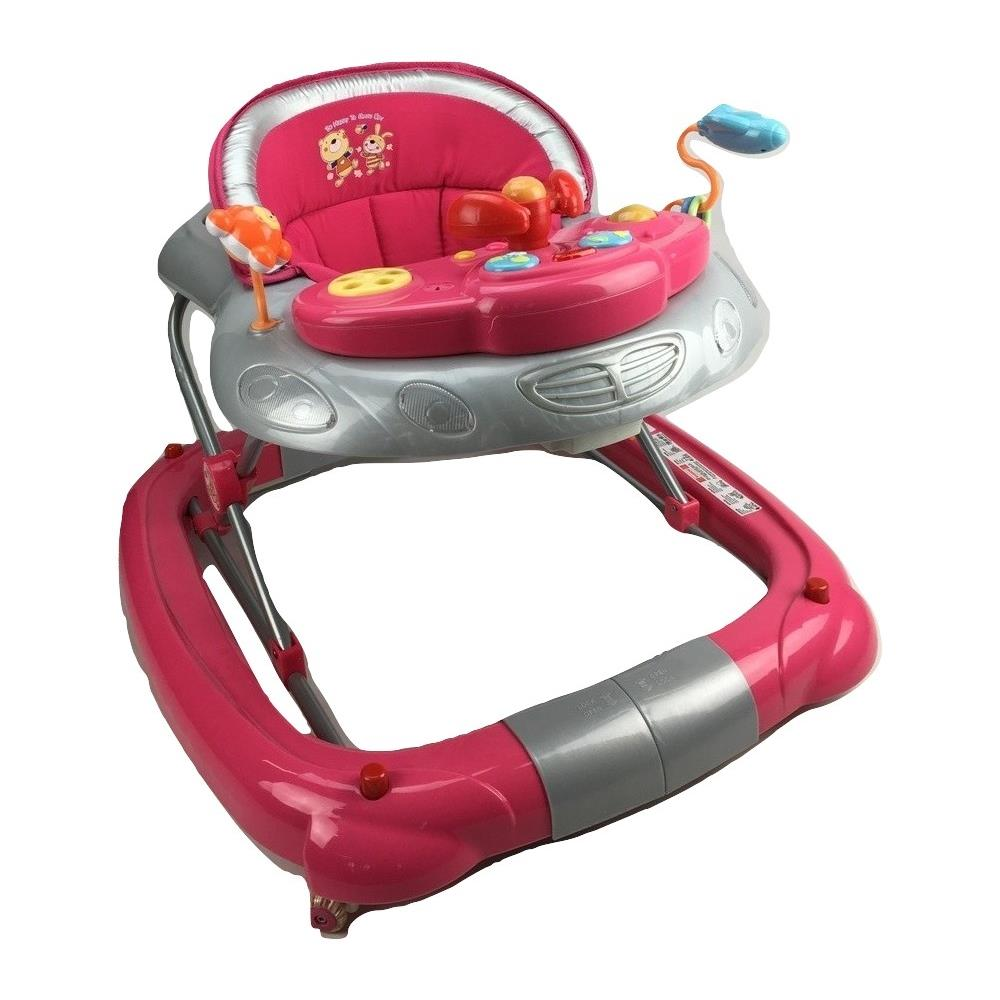 Fuchsia Pink Car 2-in-1 Baby Walker & Rocker