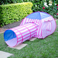 Pink Stripe Pop Up Tent with Crawl Tunnel