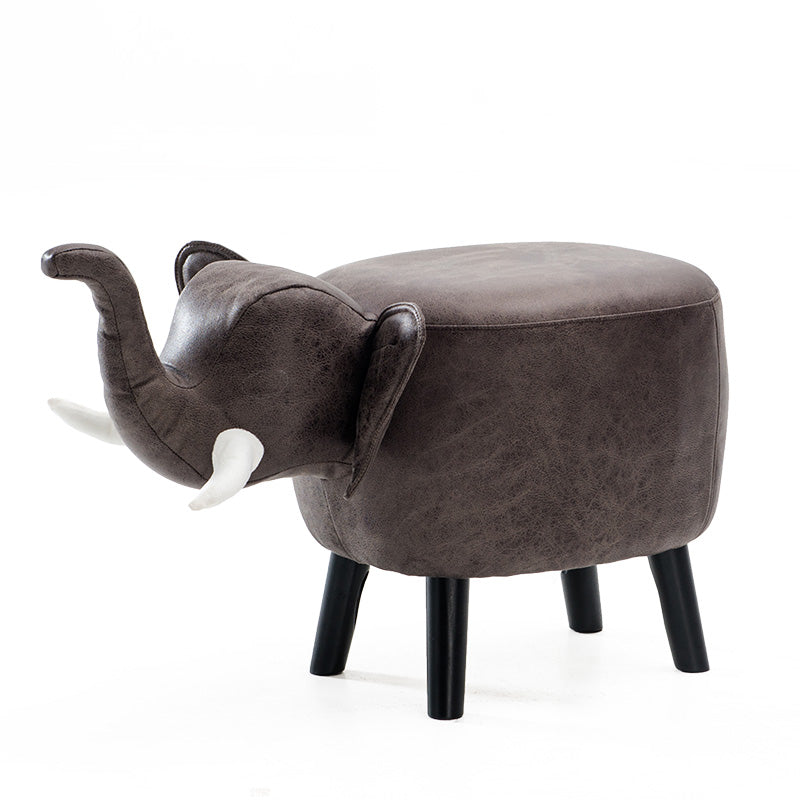 Anderson Kids Elephant Animal Wooden Stool Fabric Seating Grey - Grace Baby