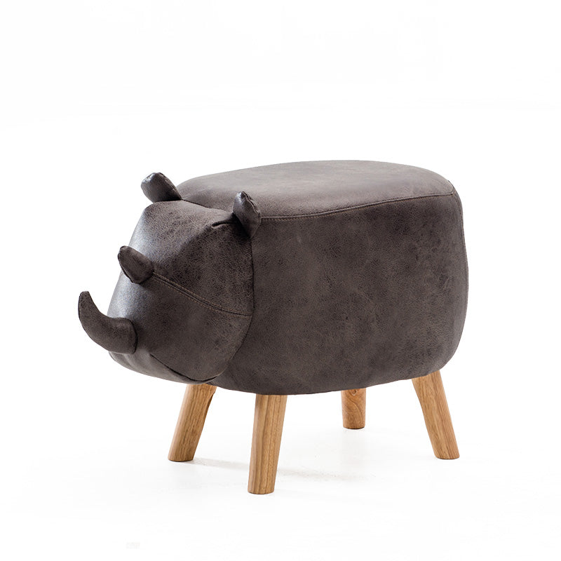 Anderson Kids Rhino Animal Wooden Stool Fabric Seating Grey - Grace Baby