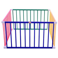 Tikk Tokk Boss Square Coloured Wooden Baby Safety Playpen