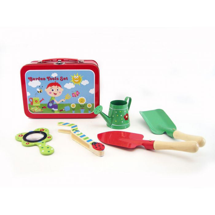 Wooden Pretend Play Garden Tools Toy Set with Tin Carry Case - Grace Baby