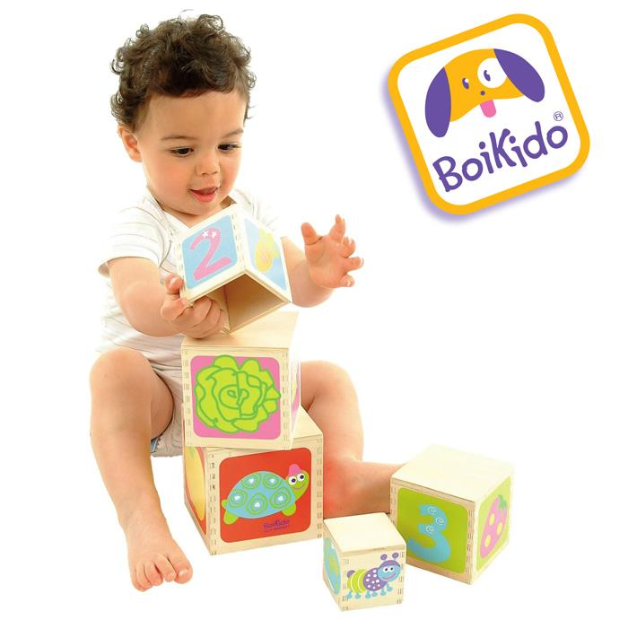 Boikido 5 Wooden Cubes Stacking Pyramid - Grace Baby