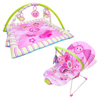 Dancing Flower Giggle Time Activity Playgym & Musical Vibrating Bouncer Package