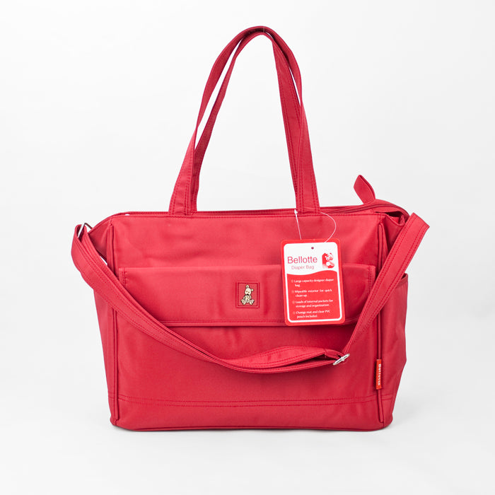Bellotte Bear Tote Nappy Bag - Red