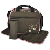 Out & About Carry All Travel Pink Nappy Bag w/ Thermal Bottle Holder - Grace Baby