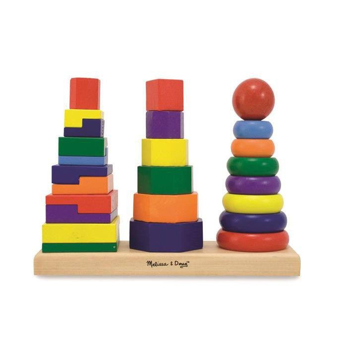 Melissa & Doug Classic Toy - Geometric Stacker - Grace Baby