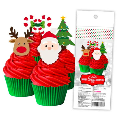 Cupcake Wafer Shapes - Christmas 16 pieces