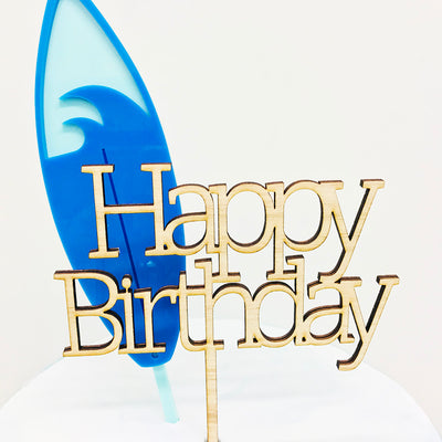 Acrylic/Wooden Cake Topper - Happy Birthday Block