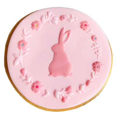 NEW Reverse Cookie Embosser - Bunny Wreath