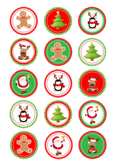Cupcake and Cookie Wafer Toppers- Christmas Mix