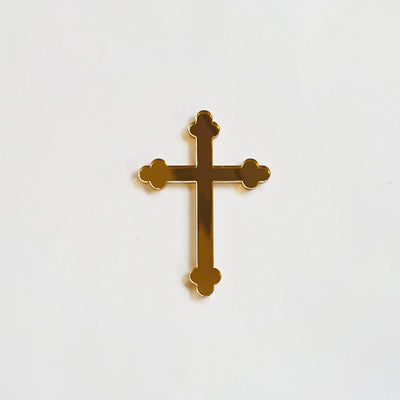 Acrylic/Wooden Cake Topper- Curved Edge CROSS