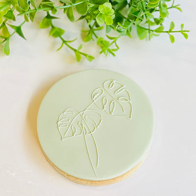 Reverse Cookie Embosser - Delicate Monstera Leaves