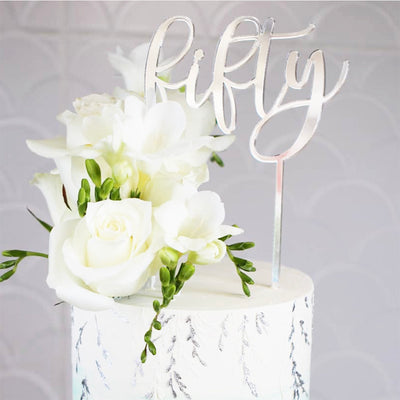 Acrylic/Wooden Cake Topper -Fifty