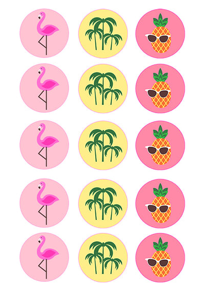 Cupcake and Cookie Wafer Sheet- Flamingos and Pineapples