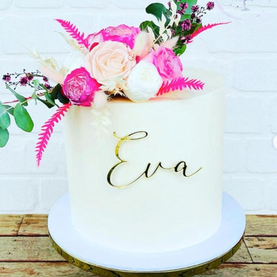 Custom Cake Topper Acrylic - Cake Front Name Plaque- Single Line