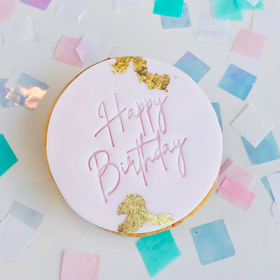 Cookie and Fondant Stamps - Happy Birthday Skinny Handwritten