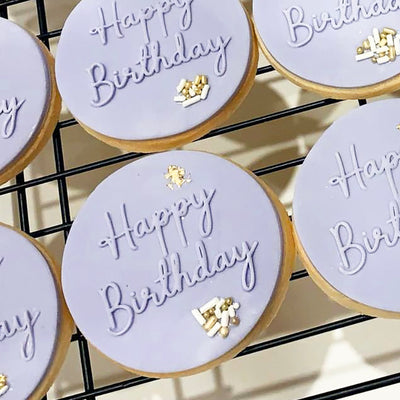Reverse Cookie Embosser - Happy Birthday Script