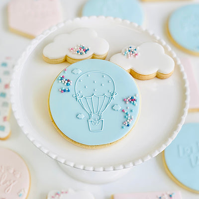 Reverse Cookie Embosser - Hot Air Ballon and Teddy