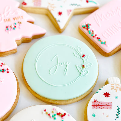 NEW Reverse Cookie Embosser - Joy Christmas Wreath
