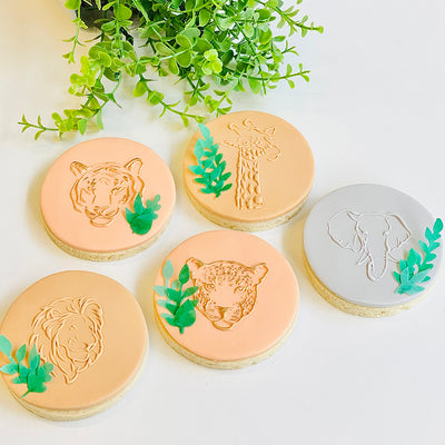 Reverse Cookie Embosser - Jungle Animals Set