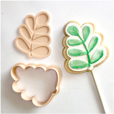 Little Biskut - Cookie Cutter and Embosser Set - Leaf