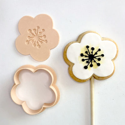 Little Biskut - Cookie Cutter and Embosser Set - Open Flower
