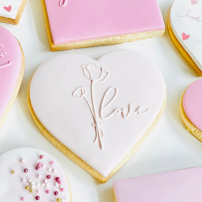 Reverse Cookie Embosser - Love and Floral