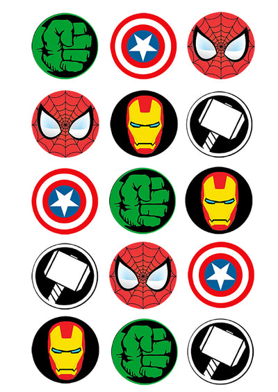 Cupcake and Cookie Wafer Toppers- Marvel Characters
