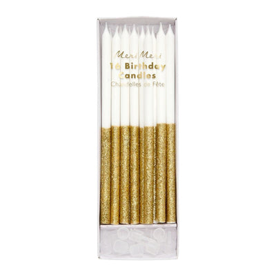 Meri Meri Glitter Dipped Candles- Gold - 16 set