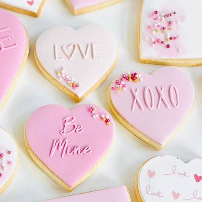 Reverse Cookie Embosser Mini Set - LOVE, Be Mine, XOXO