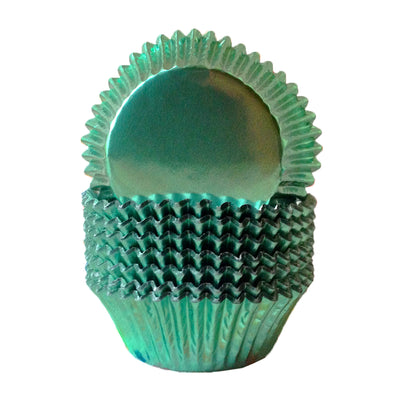Large Cupcake papers - Metallic MInt Green