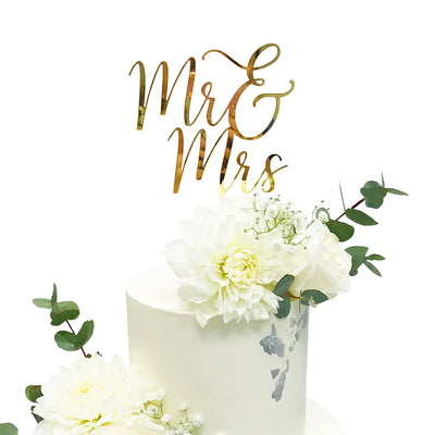Acrylic/Wooden Cake Topper - Mr and Mrs