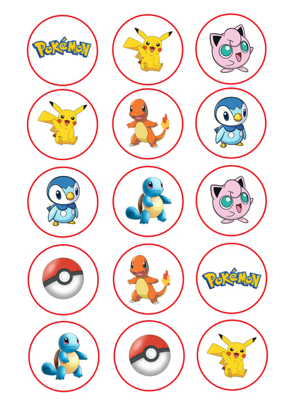 Cupcake And Cookie Wafer Toppers Pokemon Somethingforcake