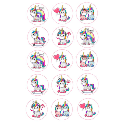 Cupcake and Cookie Wafer Toppers- Rainbow Unicorn