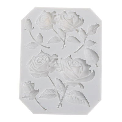 Silicone Mould - Stemmed Roses and Leaves