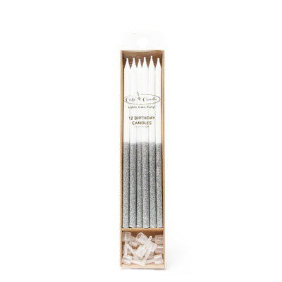 Silver Glitter Dipped Cake Candles Pack 12