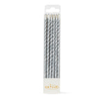Spiral Candles Pack 12 - Silver