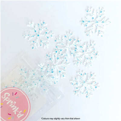 Sprink'd Wafer Paper Shapes Decorations - Star Speckled Snowflakes