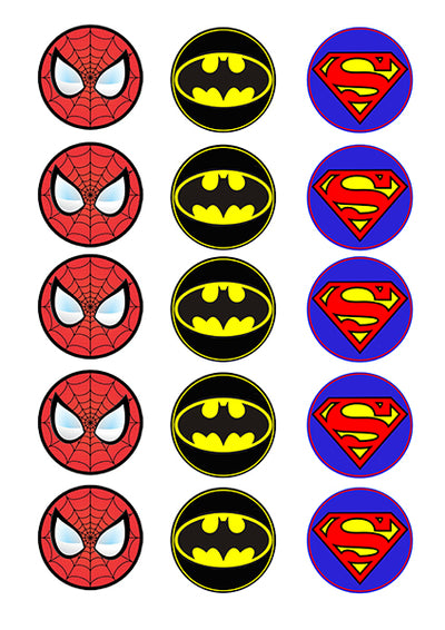 Cupcake and Cookie Wafer Toppers- Super Heroes