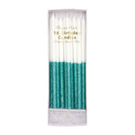 Meri Meri Glitter Dipped Candles- Teal- 16 set