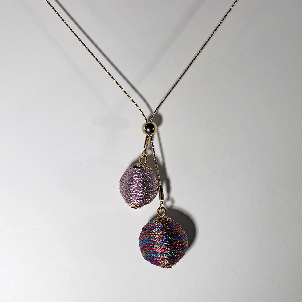 2 Bead Ball Silk Thread Pendant Necklace - Silver or Gold Finish