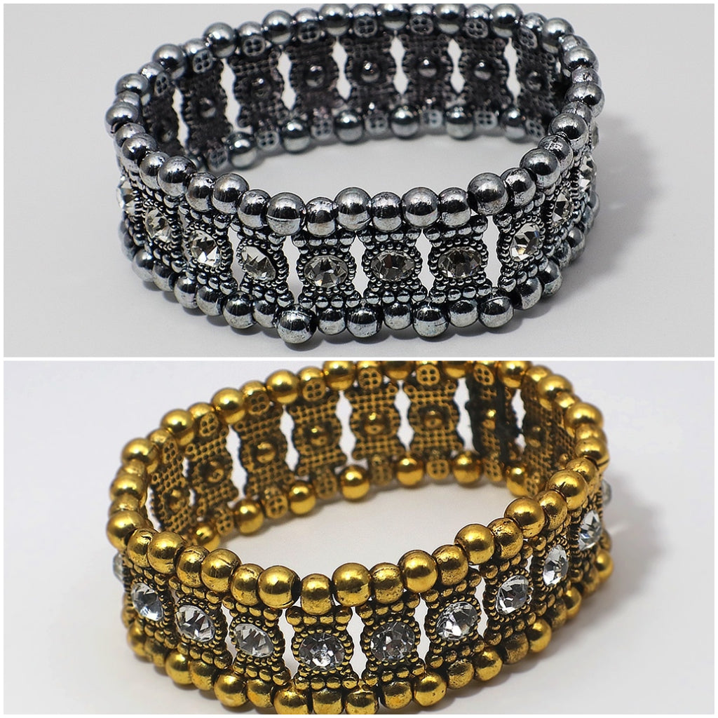 Double Chain Gold or Sliver Tone Rhinestone Bracelet