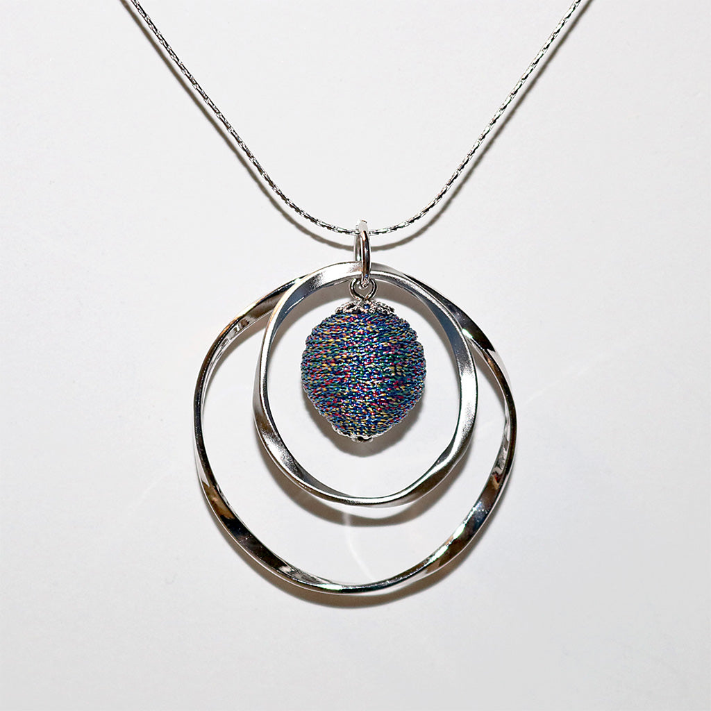 Hammered Silk Thread Ball Pendant Necklace - Silver or Gold Finish