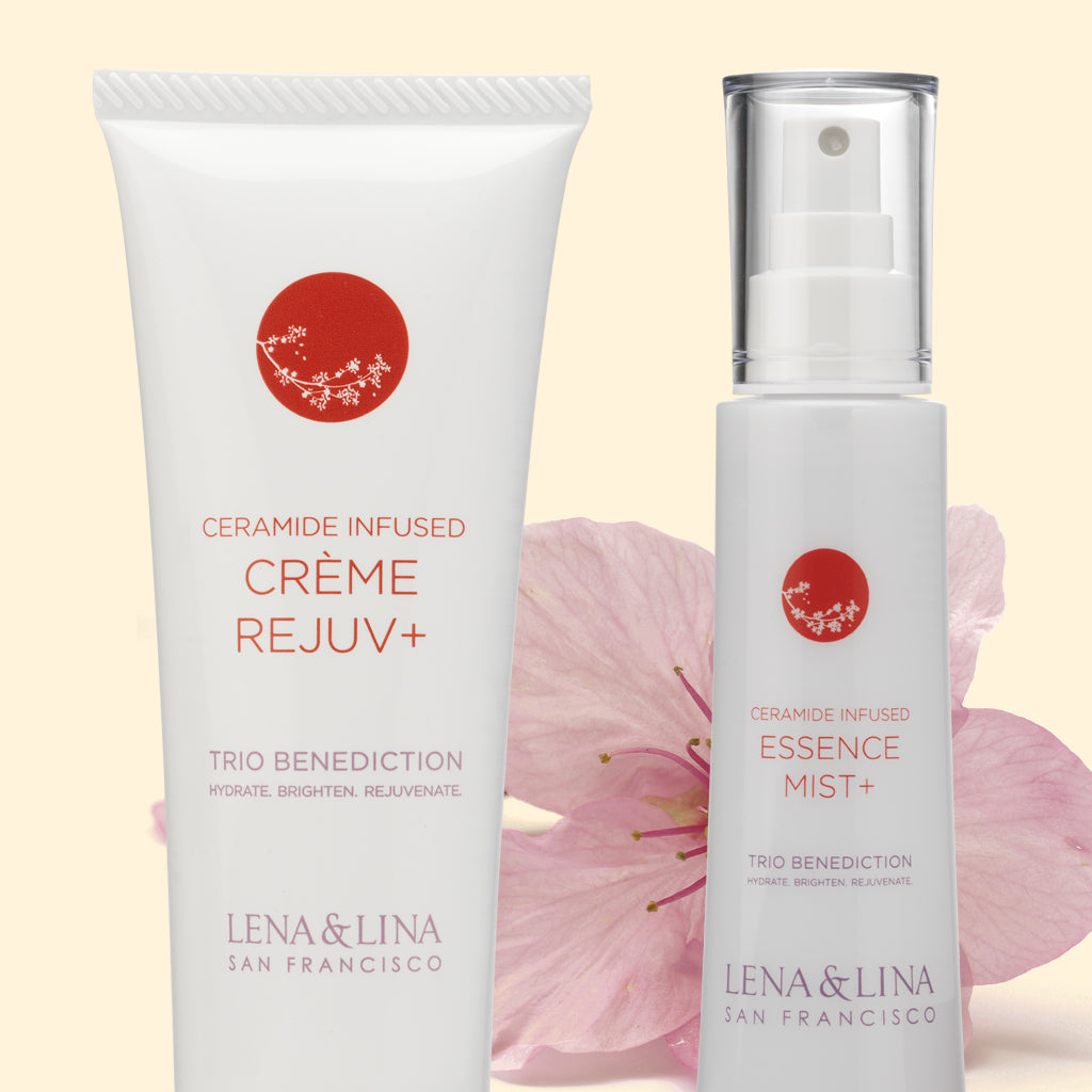 Seramide Infused Creme Rejuv & Essence Mist -Lena & Lina San Francisco – Simple Effective Japanese Skincare Beauty and Wellness Brand | Art Science of Traditional Asian Fermentation | Trio Benediction Collection – Hydrating, Brightening & Anti-aging |