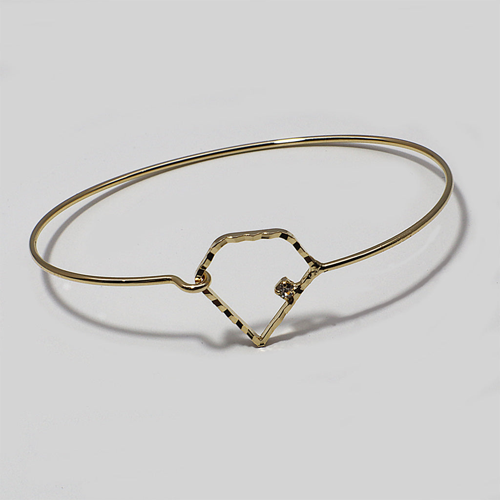 Diamond Shape Bangle/Bracelet Champagne Gold Color