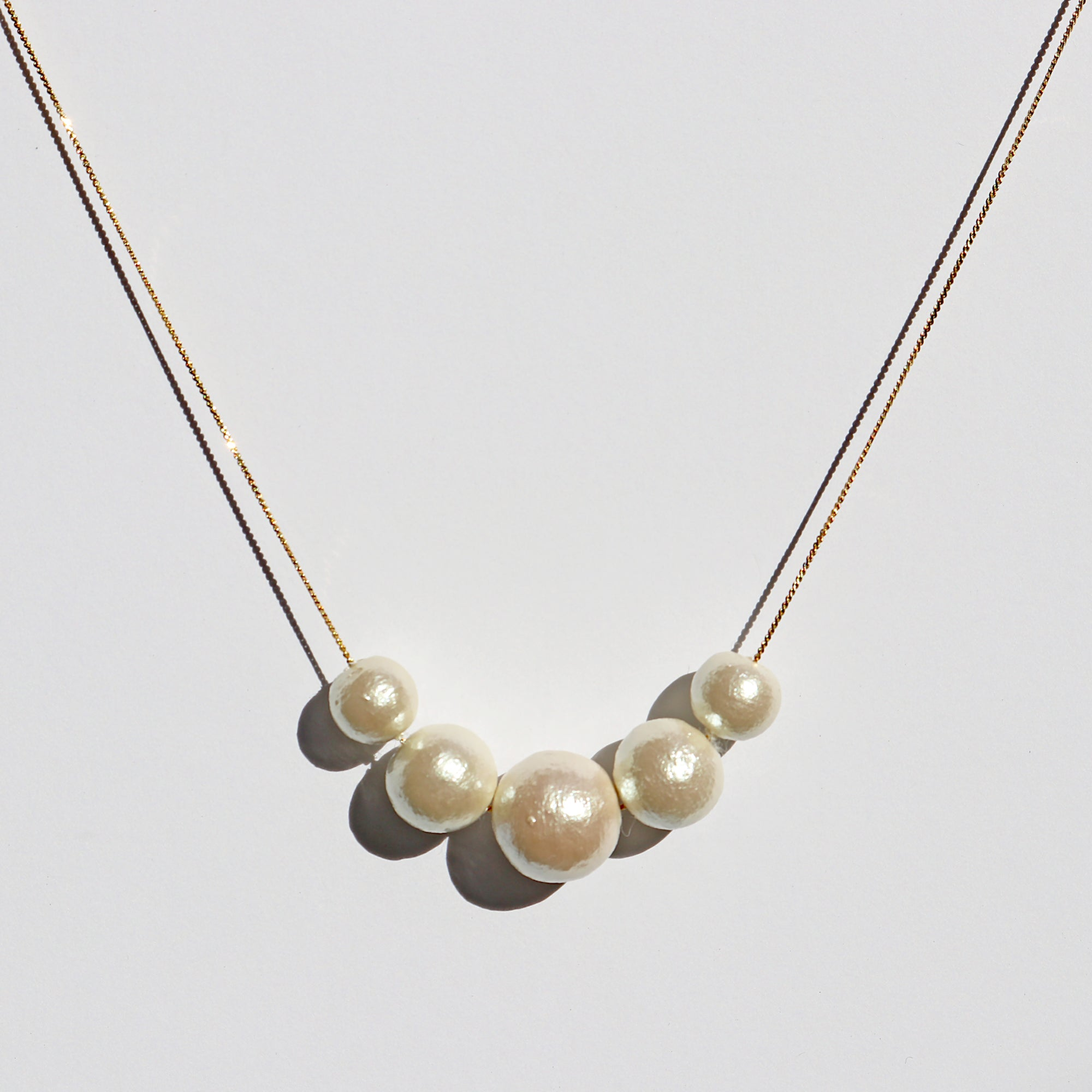 Cotton Pearl Gold Tone Necklace